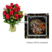 12 Red Roses Bunch And Big Photo Frame 1