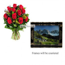12 Red Roses Bunch And Big Photo Frame 4