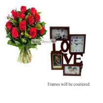 12 Red Roses Bunch And Designer Photo Frame 1