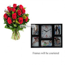 12 Red Roses Bunch And Designer Photo Frame 5