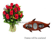 12 Red Roses Bunch And Designer Photo Frame 7