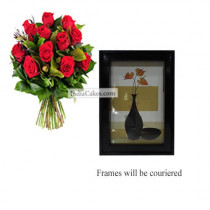 12 Red Roses Bunch And Photo Frame 2
