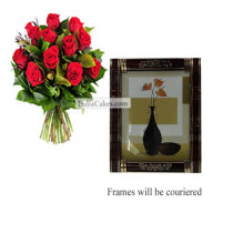 12 Red Roses Bunch And Photo Frame 4