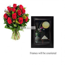 12 Red Roses Bunch And Photo Frame 5