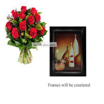 12 Red Roses Bunch And Photo Frame 7