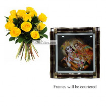 12 Yellow Roses Bunch And Big Photo Frame 1