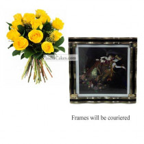 12 Yellow Roses Bunch And Big Photo Frame 3