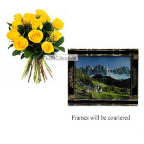 12 Yellow Roses Bunch And Big Photo Frame 4