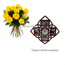 12 Yellow Roses Bunch And Designer Photo Frame 6