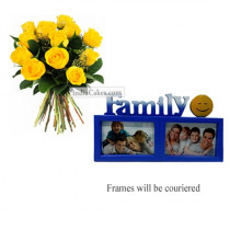 12 Yellow Roses Bunch And Family Photo Frame 3