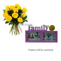 12 Yellow Roses Bunch And Family Photo Frame 4