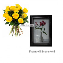 12 Yellow Roses Bunch And Photo Frame 1