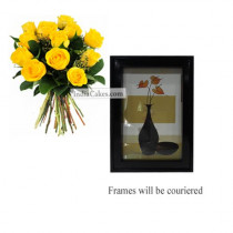 12 Yellow Roses Bunch And Photo Frame 2