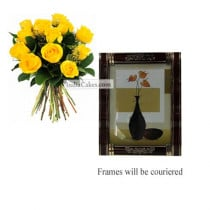 12 Yellow Roses Bunch And Photo Frame 4