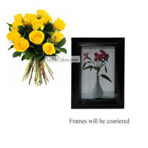 12 Yellow Roses Bunch And Photo Frame 6