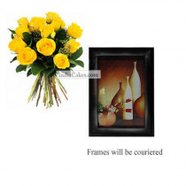 12 Yellow Roses Bunch And Photo Frame 7