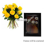 12 Yellow Roses Bunch And Photo Frame 8