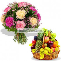 10 Mixed Carnations Bunch And 2 Kg Fresh Fruits Basket