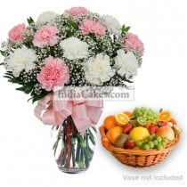 10 Pink And White Carnations Bunch And 2 Kg Seasonal Fruits Basket