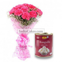 10 Pink Carnations Bunch And 1 Kg Rasgullas