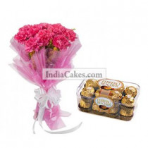 10 Pink Carnations Bunch And 16 Ferrero Rocher Chocolates