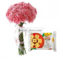 10 Pink Carnations Bunch And Half Kg Sohan Papdi