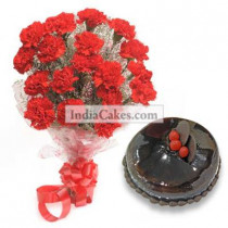10 Red Carnations Bunch And Half Kg Chocolate Cake