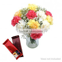 10 Mixed Carnations Bunch And 2 Cadbury Temptation