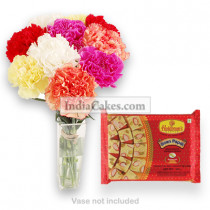 10 Mixed Carnations Bunch And 250 gm Soan Papdi