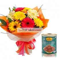 12 Multicoloured Gerberas Bunch And 1 Kg Gulab Jamuns