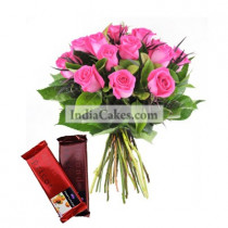 12 Pink Roses Bunch And 2 Cadbury Temptation