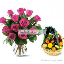 12 Pink Roses Bunch And 2 Kg Fruits Basket