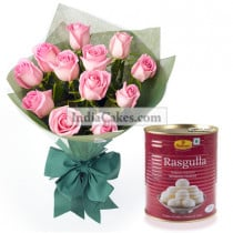 12 Pink Roses Bunch With Rasgulas From Haldiram