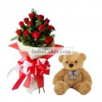 12 Red Roses Bunch And 12 Inch Big Teddy