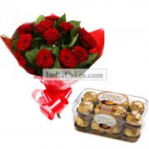 12 Red Roses Bunch And 16 Ferrero Rochers Chocolates