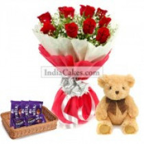 12 Red Roses Bunch And 5 Cadbury Dairy Milk Chocolate With 6 Inch Teddy