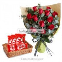 12 Red Roses Bunch And 5 Nestle KitKat