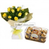12 Yellow Roses Bunch And 16 Ferrero Rocher Chocolates