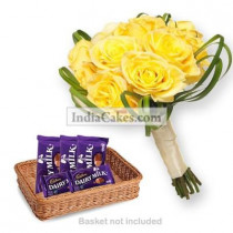12 Yellow Roses Bunch And 5 Cadbury Dairy Milk Chocolate