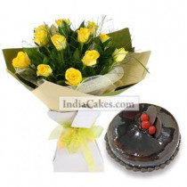 12 Yellow Roses Bunch And Half Kg Chocolate Cake