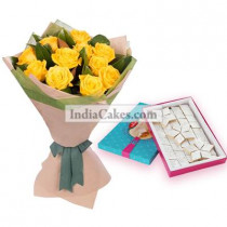 12 Yellow Roses bunch And Half Kg Kaju Barfi