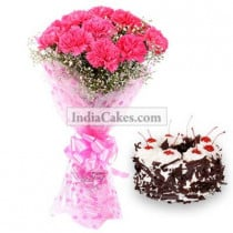 15 Pink Carnation Bunch And Half Kg Black Forest Cake