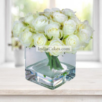 15 White Roses With Square Shaped Vase