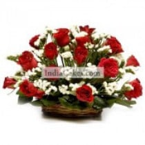 18 Red Roses Basket Arrangement