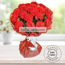 25 RED CARNATIONS BUNCH