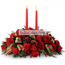 25 Red Carnations with Candles