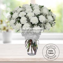 25 WHITE CARNATIONS BUNCH