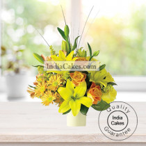 2 YELLOW LILIES AND 6 YELLOW GERBERAS BUNCH