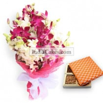 6 Orchids Bunch And Half Kg Dry Fruits Pack