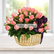 Arrangement Of 30 Pink Roses Basket